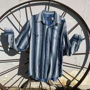 Vntg PERFECT Wrangler Mens Mixed Stripe Shirt 16.5